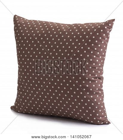 Polka dot brown cushion isolated on white background