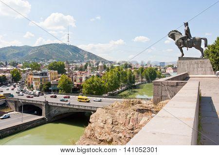 TBILISI, GEORGIA -AUGUST 7,2013: Vakhtang I Gorgasali statue in Tbilisi, Georgia