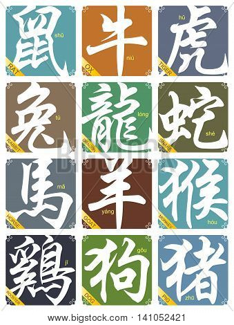 Vector 12 Chinese zodiac signs set isolated