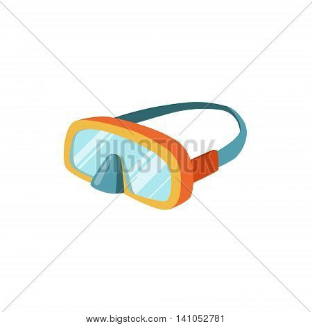 Scuba Diving Mask With Strap Bright Color Cartoon Simple Style Flat Vector Illustration Isolated On White Background