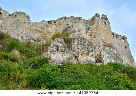 Old castle ruins. Ruins Castle Spissky Hrad in Slovakia.