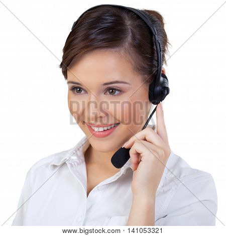 Young Woman in Headset as Support Phone Operator on white backround