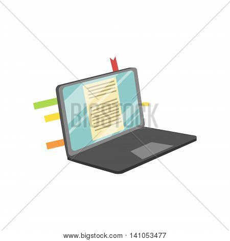 Lap Top With Post It Stickers On Screen Bright Color Cartoon Simple Style Flat Vector Illustration Isolated On White Background