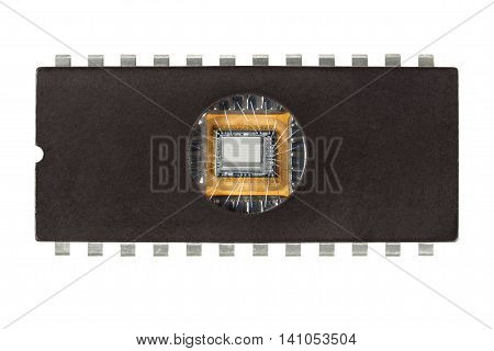 Old computer memory chip on white background