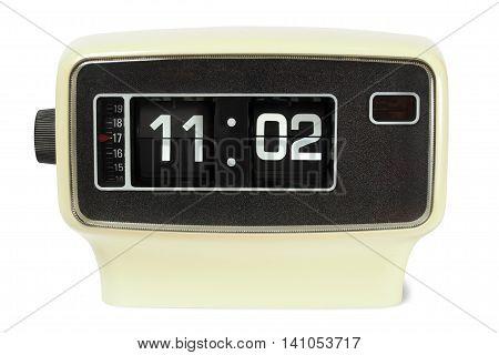 Vintage flip alarm clock on white background