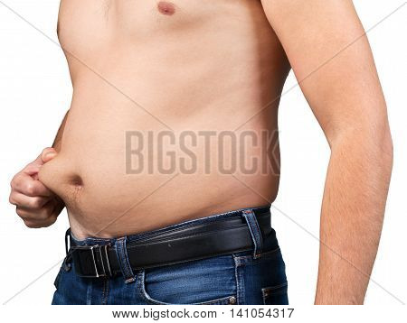 Closeup of a Man Holding his Belly