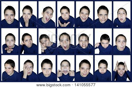 Collage of twenty-one pictures. Emotions boy. humor
