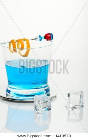 Blue Shark Cocktail And Icecubes
