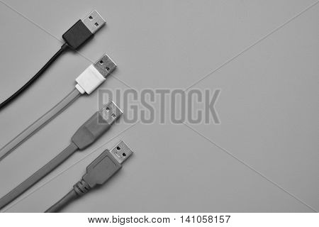 Usb. Universal serial bus on gray background.