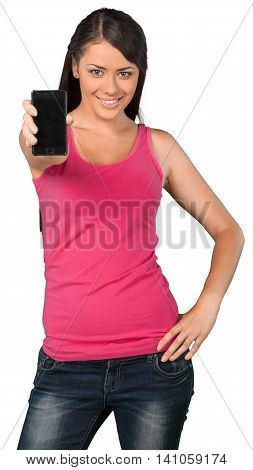 Portrait of a Smiling Young Woman Showing Smartphone