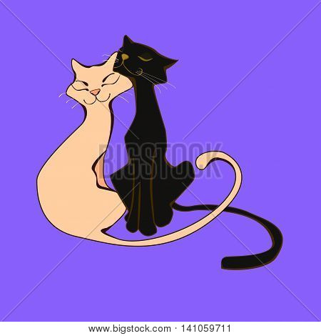 A pair of lovers of cats squinted with pleasure. Illustration