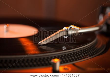Closeup Detail of Turntable Needle on Record