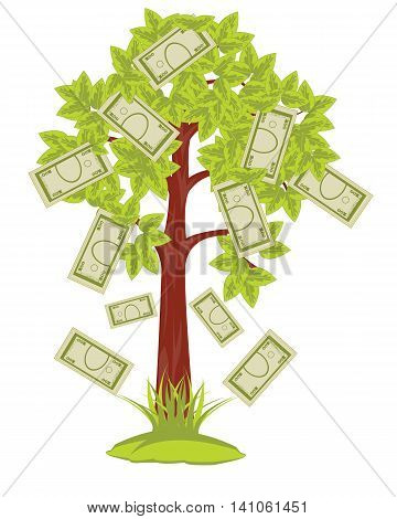 The Tree with rising soft moneys on him.Vector illustration