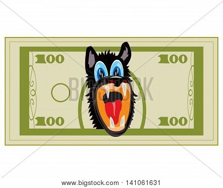 Cartoon on money bill with head of the wolf