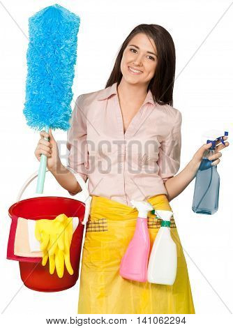Friendly Young Charwoman Holding Accessories for Cleaning  - Isolated