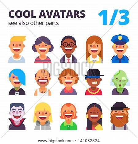Set of cool avatars. Different skin tones, clothes and hair styles. Modern and simple flat cartoon style. Part 1 of 3. See also other parts.