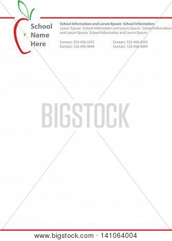 Red Apple Logo Professional School Letterhead Template