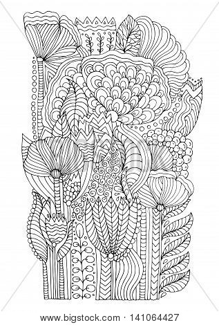 Vector hand drawn doodle pattern of unrealistic flowers in magic garden. Page for coloring book floral carpet. Zentangle drawing. Isolated on white background