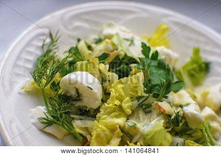salad with salad with cheese Chinese cabbage apple sauce cheese Chinese cabbage