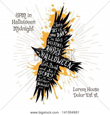 Halloween invitation banner with black shape of flying raven and calligraphic holiday wishes. Halloween retro hand lettering poster.