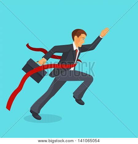 Ahead of the competition concept, man is victoriously running ahead of his rivals, colorful vector flat illustration