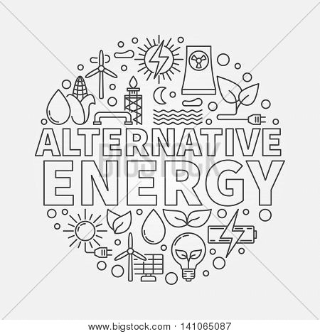 Alternative energy round illustration. Green world and renewable energy concept symbol made with thin line icons
