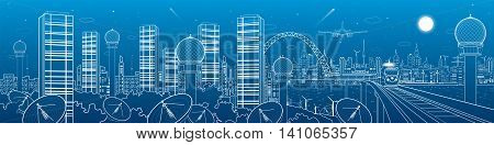 City and transport mega panorama, train on the bridge, skyline, radars in the woods, communication technology, white lines landscape, night town, airplane fly, towers, vector design art