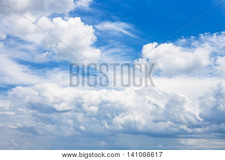 Dense White Clouds In Blue Sky In Summer Day