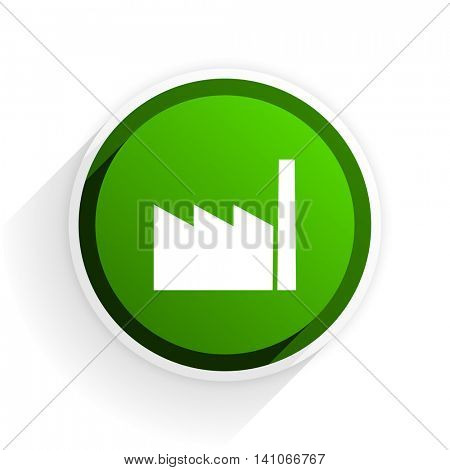 factory flat icon with shadow on white background, green modern design web element
