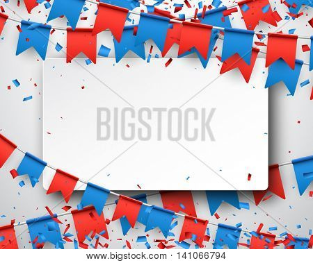 Background with garlands of red and blue flags. Vector illustration.
