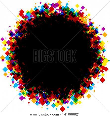 Black round background with color rhombs. Vector paper illustration.