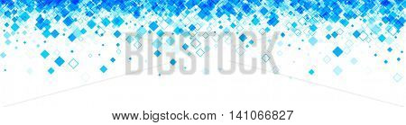 White banner with blue rhombs. Vector paper illustration.