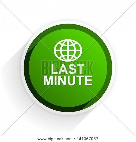 last minute flat icon with shadow on white background, green modern design web element