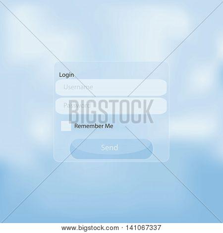 Web login panel on blue sky gradient backgrpund
