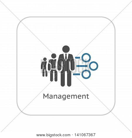 Management Icon. Business Concept. A Three man with Round Checkboxes. Flat Design. Isolated Illustration. App Symbol or UI element.