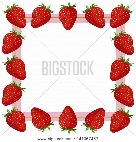 juicy red Strawberry frame - vector illustration