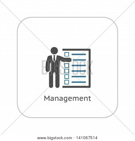 Management Icon. Business Concept. A Man with List of Checkboxes. Flat Design. Isolated Illustration. App Symbol or UI element.