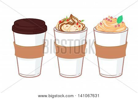 Hand drawn vector illustration - Coffee to go and other sweet desserts. Background with cups of coffee