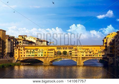 Ponte Vecchio; romantic evening in Florence. Italy.