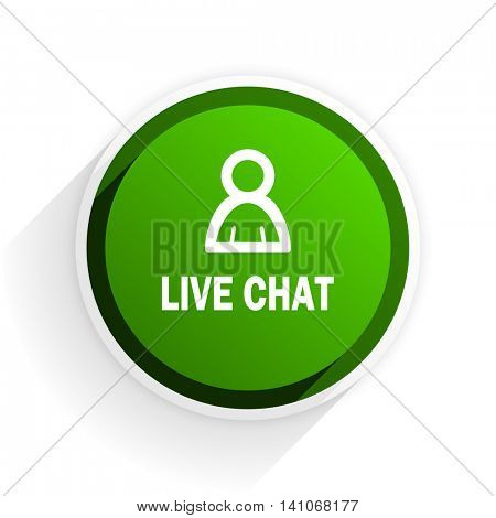 live chat flat icon with shadow on white background, green modern design web element