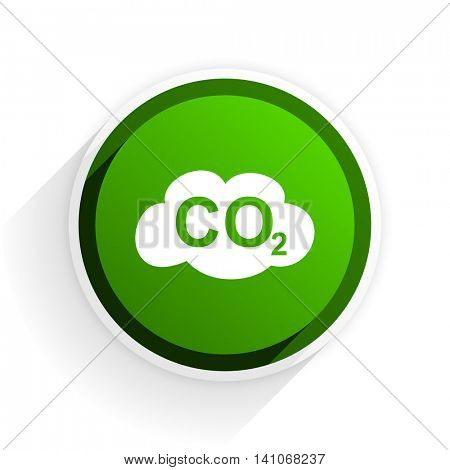 carbon dioxide flat icon with shadow on white background, green modern design web element