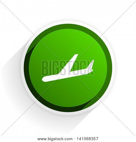 arrivals flat icon with shadow on white background, green modern design web element