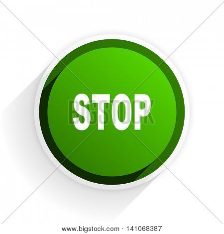 stop flat icon with shadow on white background, green modern design web element