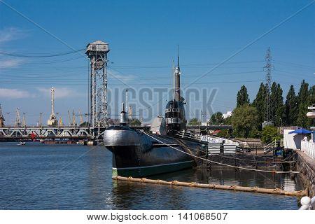KALININGRAD RUSSIA - June 19: Museum of World oceanoutdoor exposition Submarine Museum B-413 on June 19 2016 in Kaliningrad Russia