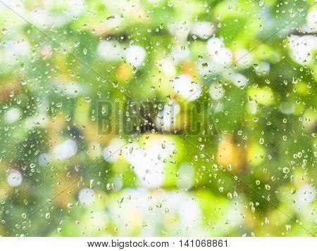 Rain Drops On Windowpane Of Country House