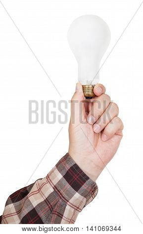 Male Hand Holds Incandescent Lamp Isolated