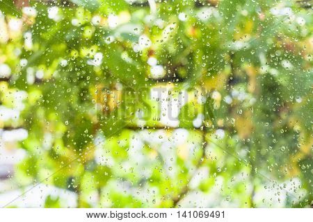 Raindrops On Window Pane Of Country House