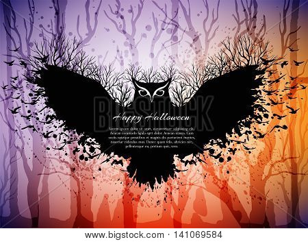 Halloween card with fairytale scene flying magic owl above dark forest. Halloween background with frame from owl and copy spase for your text.
