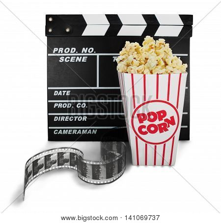 Bucket of Popcorn with Clapperboard and Film Strip