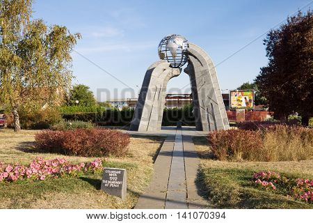 KRUSEVAC SERBIA - AUGUST 30 2012: The monument of Peace in Krusevac city. Krusevac is a city and the administrative center of the Rasina District in Serbia.